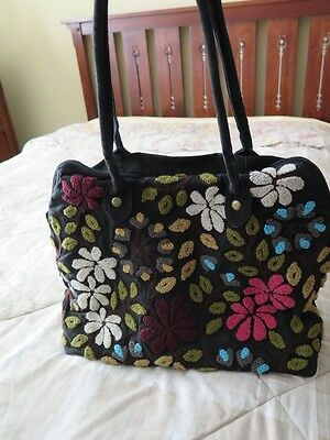 LANTERN MOON Handcrafted Black Floral Carpet Knitting Bag Tote