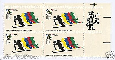 C85 ZIP BLOCK Olympics Skiing 11 ct Yr 1972 MULTI-COLOR SHIFT ERROR MNH