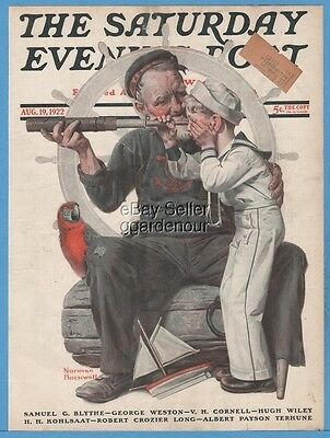 1922 Saturday Evening Post August 19 8/19/22  Norman Rockwell Art Cover Only