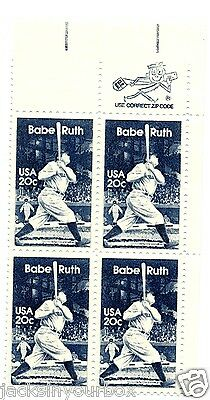 2046 ZIP or COPY BLOCK OF 4, GEORGE BABE RUTH 20 ct Yr 1983 BLUE MNH