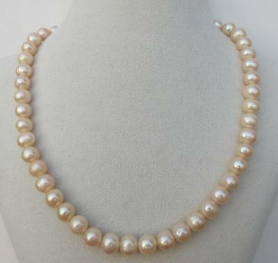 surprising 8-9MM Japanese Akoya GODEN PINK pearl necklace 17inch 14k