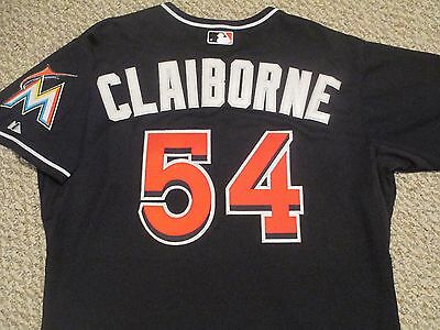 Preston Claiborne size 48 #54 2015 Miami Marlins Game Jersey Issued alt black