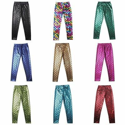 Todder Kids Girls Fish Scale Mermaid Skinny Leggings Stretchy Slim Pants 5-12Y