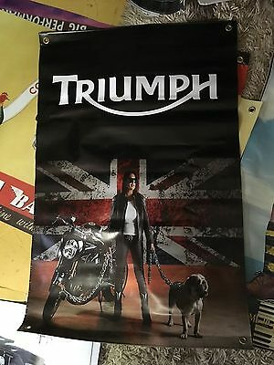 MAN CAVE TRIUMPH 3X2 FT VINYL POSTER pool room sign trumpie RUM BIKER