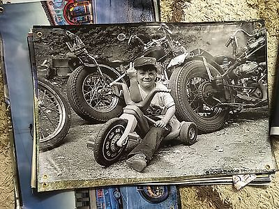 Biker pan head knuckle head 3X2 FT VINYL POSTER pool room sign harley RUM BIKER