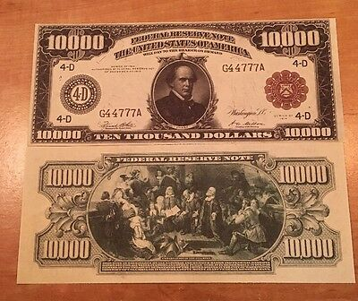 Reproduction Money 1914 Fed Res Red Seal $1000 Fantasy US Currency Copy Note