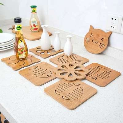 1×Wood Table Mat Dish Bowl Coasters Pot Pan Trivet Cup Pad Placemat Decor Select