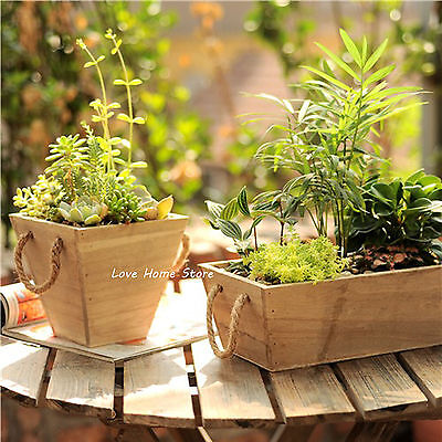 Wood Plant Box Herb Planter Window Trough Pot Succulent Flower Gift