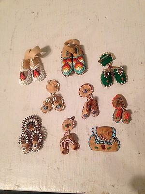Collection of 9 Vintage Native American Indian miniature beaded moccasins pins