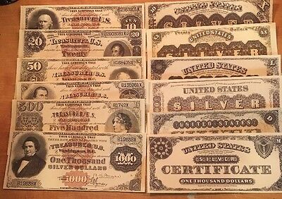 REPRODUCTION $1,000 1880 Silver Certificate Note US Paper