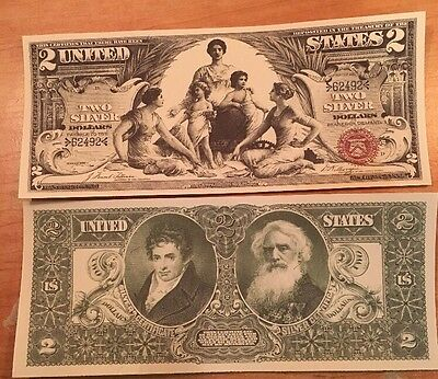Reproduction Money 1896 $2 Educational Series Silver Cert Currency Copy Note