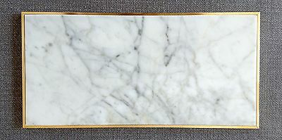 Marble and brass edge tray - Carrara marble and solid brass - 30cm x 15cm x 1cm