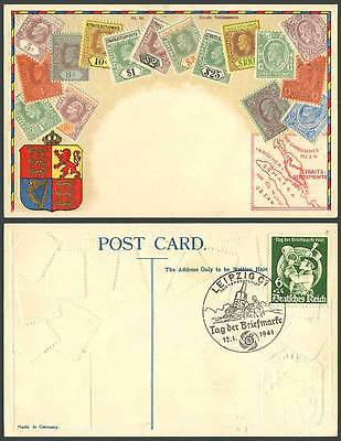 Straits Settlements Vintage Stamps Old Postcard 1941 Deutsches Reich 6+24 Stamp