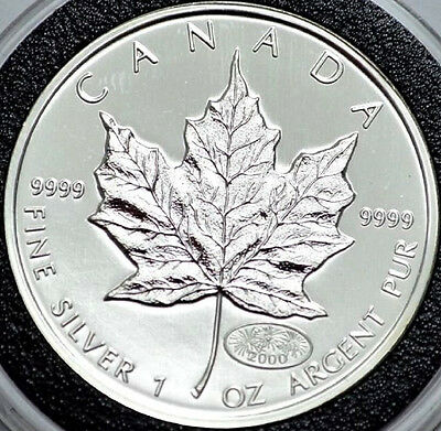 Uncirculated 2000 $5 Canadian Silver Maple Leaf with Fireworks Privy