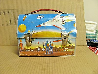 Vtg 1960 Sci-Fi Space Satellite Rocket Astronaut Planet DOME Lunchbox * NICE
