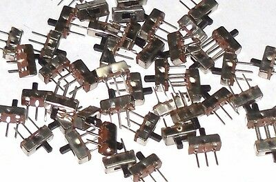 10 Pieces Mini Slide Switch 3-Pin 2-Position SPDT : 3mm Toggle 2.54mm Pin Pitch