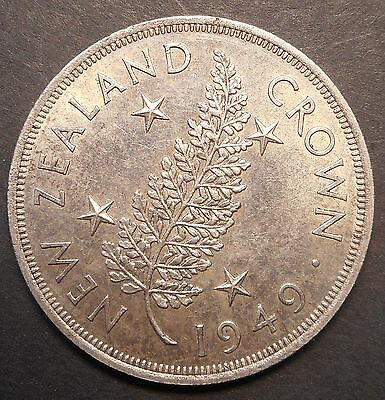 New Zealand 1949 Royal Visit  Silver Crown Coin aUNC Nice