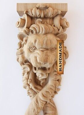 "17.1"" Lion Decorative Wood Trim Carved Furniture Hand Carving Appliques Decor"