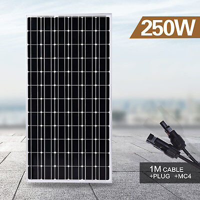 New 250W Single Solar Panel 12V Battery Charger Power Mono Portable Camping Boat