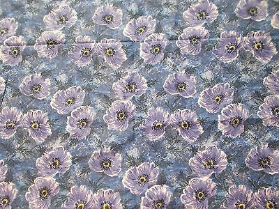 Floral fabric - purple poppies on a blue background - vintage 1950's - 4 metres