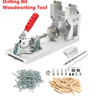 4 Pocket Hole Jig Kit Drill System Carpentry Woodworking Plug Cut Tools Joinery