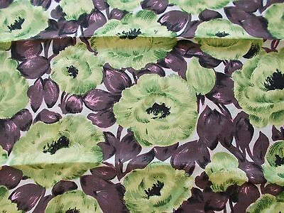 Italian Silk fabric -  - vintage 1950's - Green flowers 3.9 metres