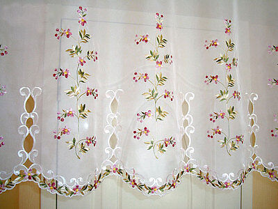 Beautiful Pink Flower Trail Embroidery Cutwork Sheer Cafe Curtain