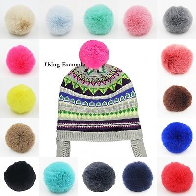 1PC Small 6cm Faux Rex Rabbit Fur Pom Pom Ball for Beanie Hat DIY