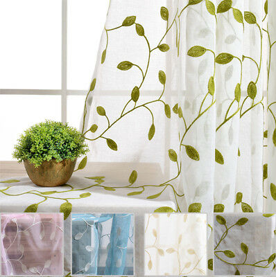 Fresh Vine Embroidery Sheer Curtain Balcony Fabric Tulle Voile Gauze Textile 1PC