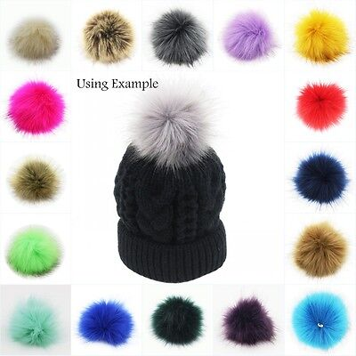 1PC 10cm Faux Fox Fur Pom Pom Ball for Beanie Hat DIY