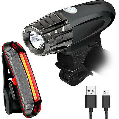 USB Waterproof Two Rechargeable Bright Front Light and LED Bike Tail Light Set