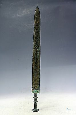 Fine Chinese beautiful Bronze insert gold turquoise Sword