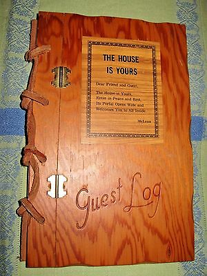 Vtg 1950s Wood Cottage Guest Log Hinged Front Leather Binding UNUSED