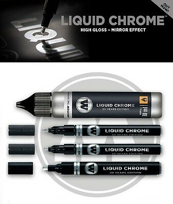 Molotow Liquid Chrome Marker High Gloss Mirror Effect (3 Sizes & Refill Avail)