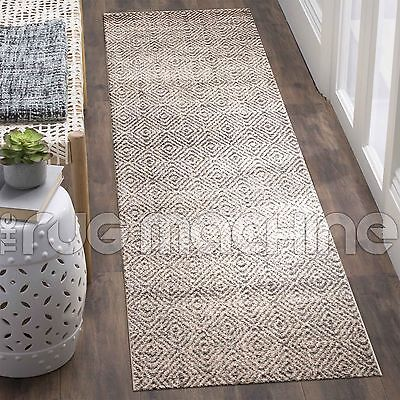 LUCAS BEIGE GREY DIAMOND GEOMETRIC POWER LOOMED MODERN RUG RUNNER 80x400cm **NEW