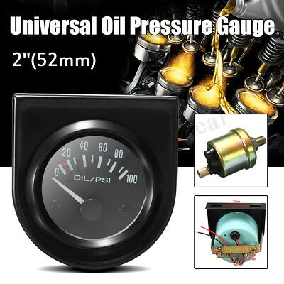 2'' 52mm Black Pointer 0-100 PSI Oil Pressure Gauge LED Light Universal Car