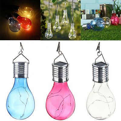 Solar Powered Outdoor Garden Fairy Lighting Bulb Camping Hanging Lamp Waterproof