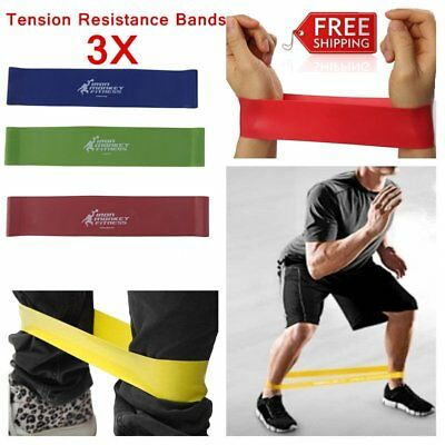Set Of 3 Heavy Duty Resistance Band Loop Power Gym Fitness Exercise Yoga W0