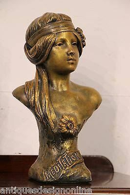 Signed antique Lady sculpture Art Nouveau Art Deco GIRL gilt signed lady 1900's