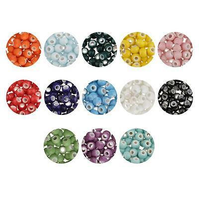 100pcs Round Gemstone Loose Spacer Beads Charms for DIY Jewelry Making 6mm