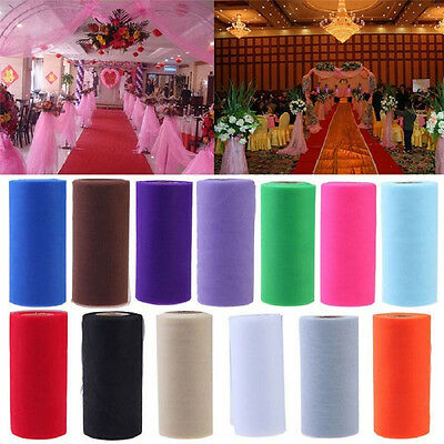"NEW 6""100 Yd Tulle Fabric Roll Spool for Wedding Bow Decoration Craft HOT"