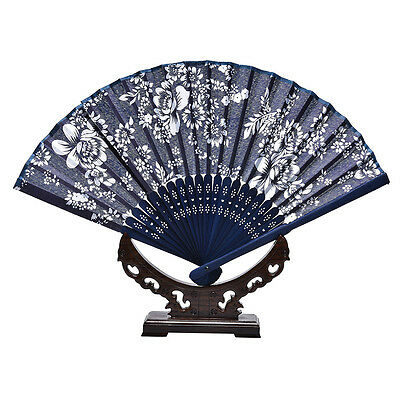 Blue Chinese Style Dance Party Wedding Lace Silk Folding Hand Held Flower Fan