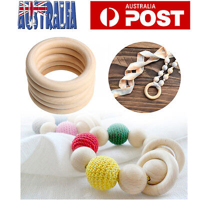 20pcs 55mm Unfinished Natural Wooden Round Rings Teething Jewellery DIY Craft