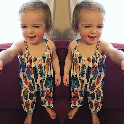 Summer Toddler Infant Baby Girls Feather Print Romper Bodysuit Clothes Jumpsuit