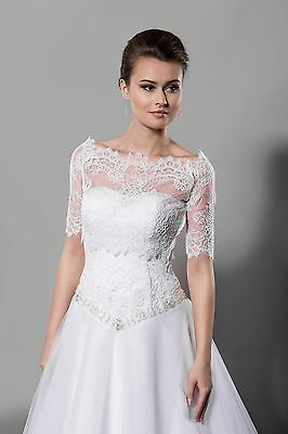 NEW White/ Ivory Lace Bolero Shrug Wedding Jacket 3/4 Sleeve- Various Sizes- K1A