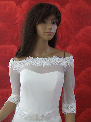 NEW White/ Ivory Tulle/Lace Bolero Shrug Wedding Jacket 3/4 Sleeves - K30
