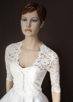 NEW Ivory Lace Bolero Shrug Wedding Jacket 3/4 Sleeve - Various Sizes - SW2