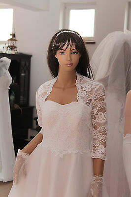 NEW Ivory/White Lace Bolero Shrug Wedding Jacket 3/4 Sleeve -Various Sizes - K41