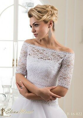 NEW White/Ivory Lace Bolero Shrug Wedding Jacket 3/4 Sleeve- Various Sizes-16022