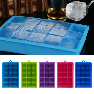 15-Cavity Large Ice Cube Tray Maker Mold Mould Tray Kitchen DIY Jelly Silicone